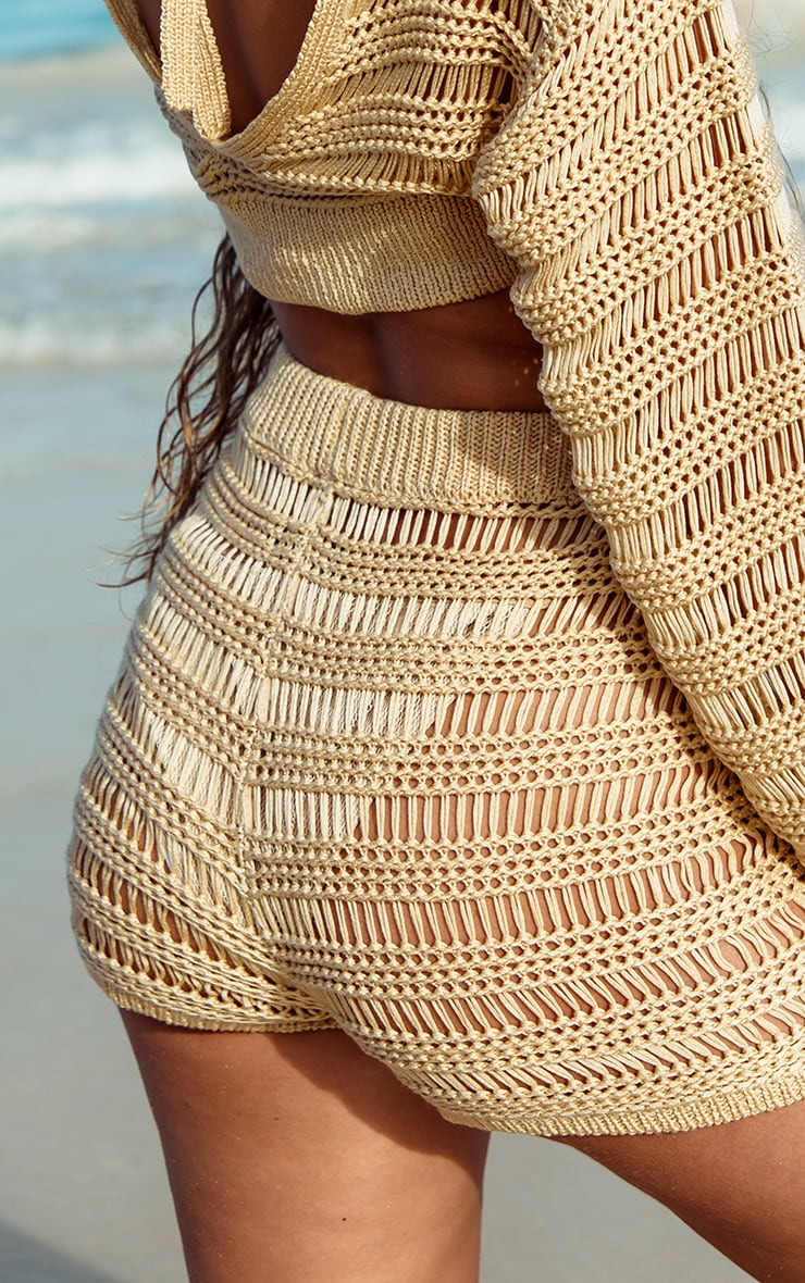 Stone Open Stitch Ladder Detail Knitted Shorts 5
