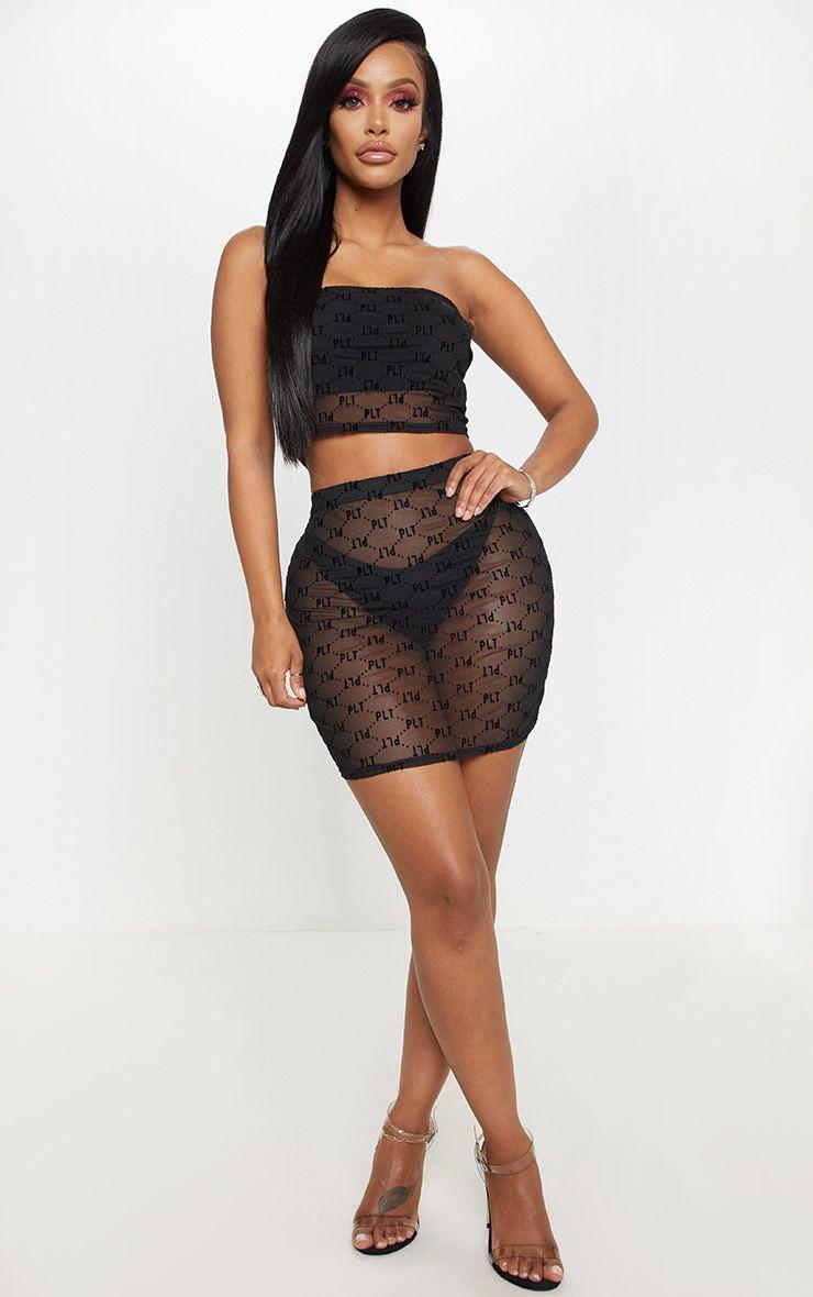 PRETTYLITTLETHING Shape Black Mesh Bodycon Skirt  1