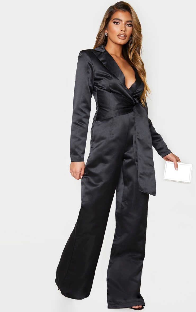 Black Wrap Detail Blazer Jumpsuit 3