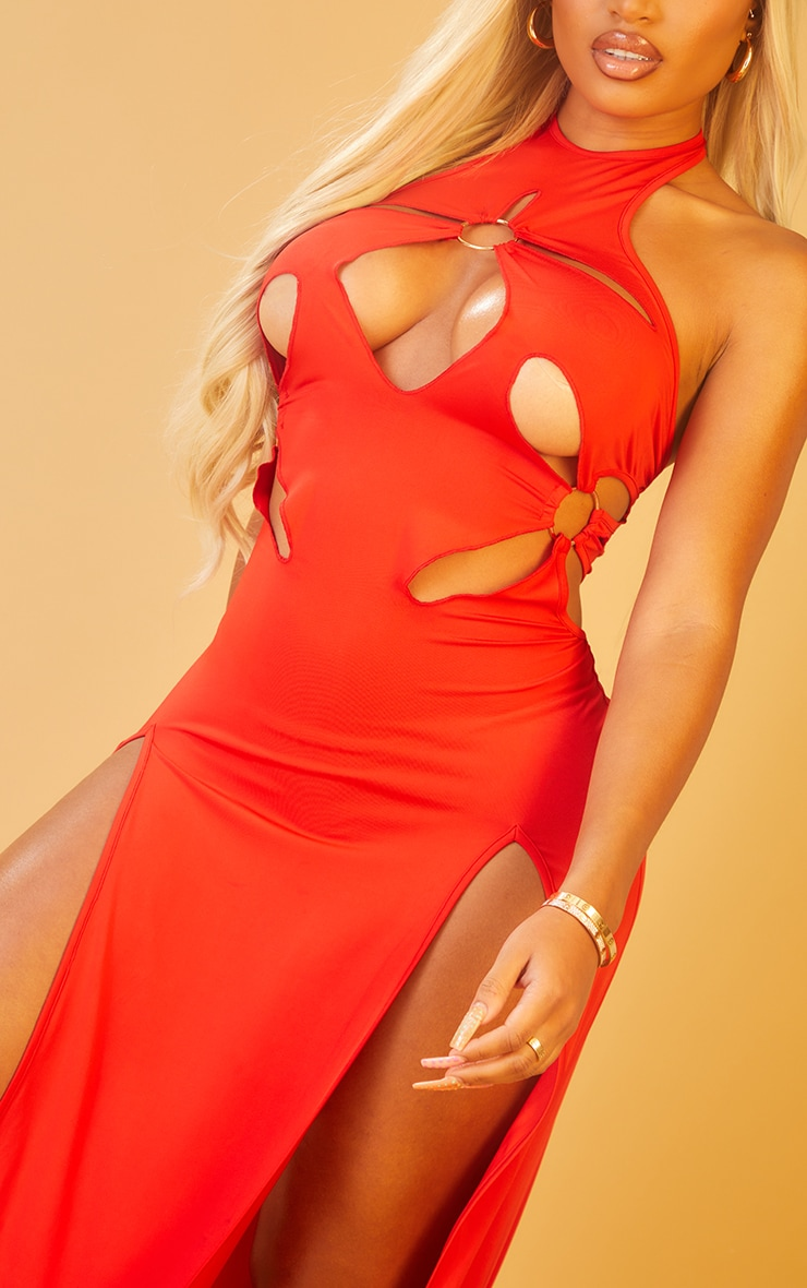 Shape Red Ring Detail Cut Out Racer Neck Maxi Dress 4