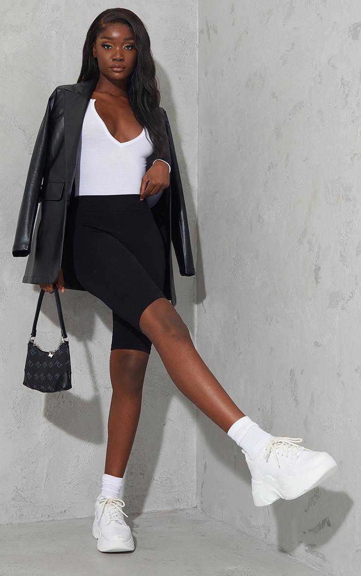Tall White Basic Plunge Long Sleeve Bodysuit 3