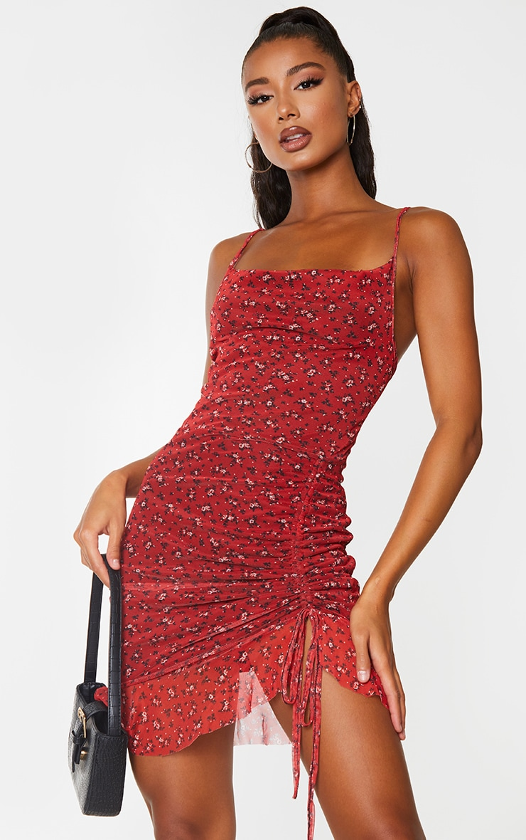 Red Ditsy Floral Print Mesh Ruched Bodycon Dress 1