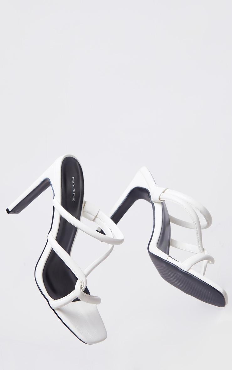 White Flat Heel Tube Strap Mule Heels 3