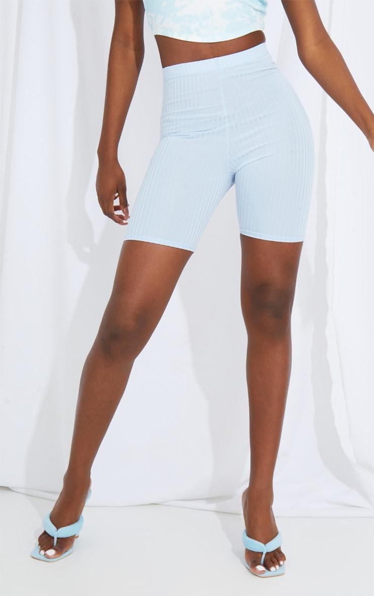 Tall Baby Blue Ribbed Cycle Shorts 2