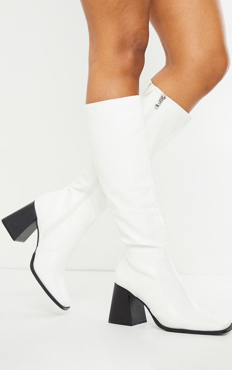 White Square Toe Flare Block Heel Knee High Boots 2