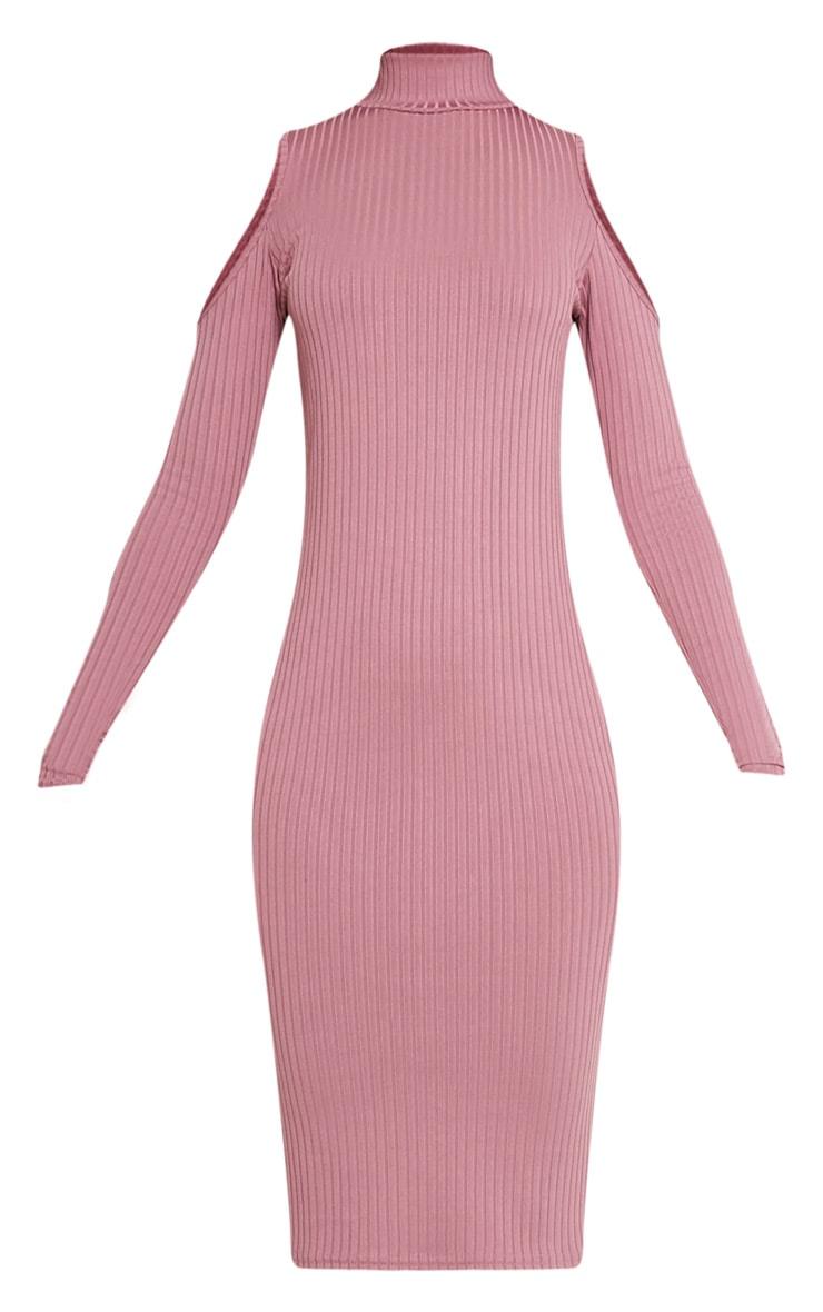 Kellie Mauve Cold Shoulder Ribbed Bodycon Dress 3