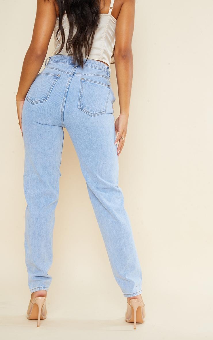 Light Blue Wash Asymmetric Waistband Long Straight Leg Jeans 3
