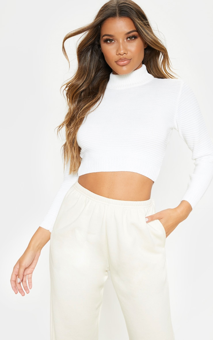 Cream Ribbed Cropped Knitted Sweater 1