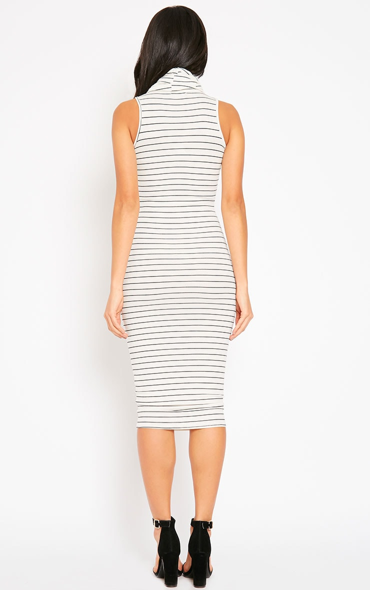 Felice Cream Stripe Roll Neck Dress 2