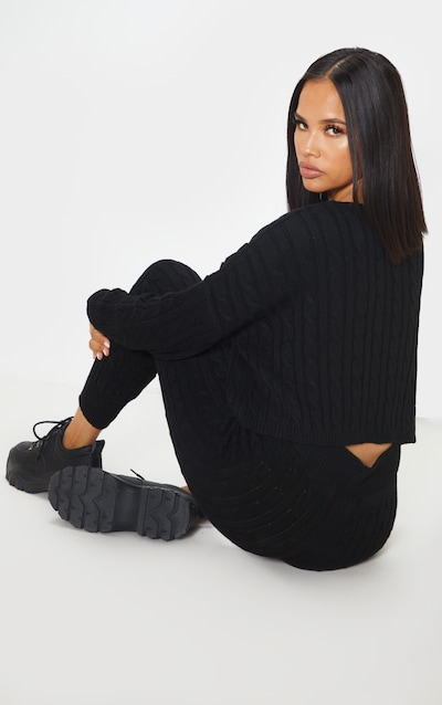 Black Cable Knit Jumper & Legging Set