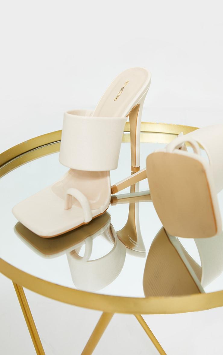 Cream Square Toe Loop High Heel Mules 4