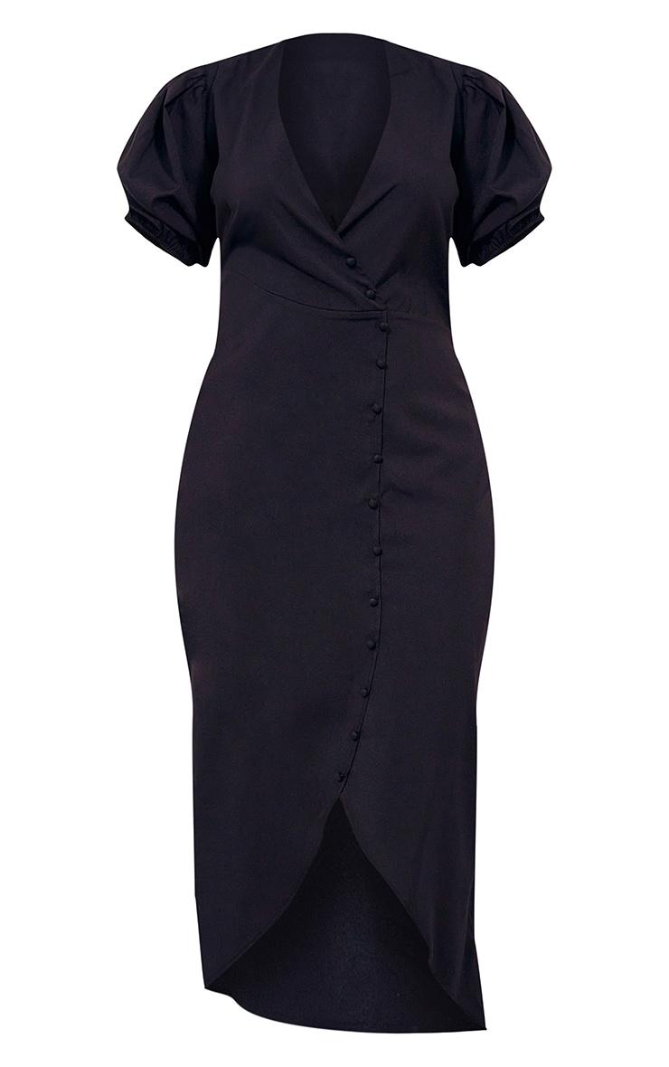Plus Black Puff Sleeve Button Up Midaxi Dress 5