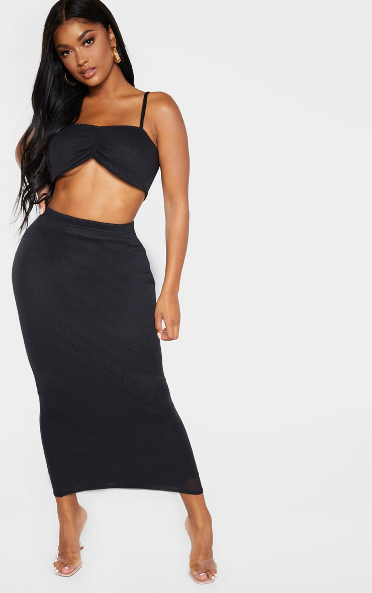 Shape Black Knitted Ruched Front Crop Top 4