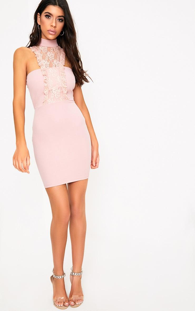 Jessalyn Dusty Pink Lace Overlay High Neck Bodycon Dress 4