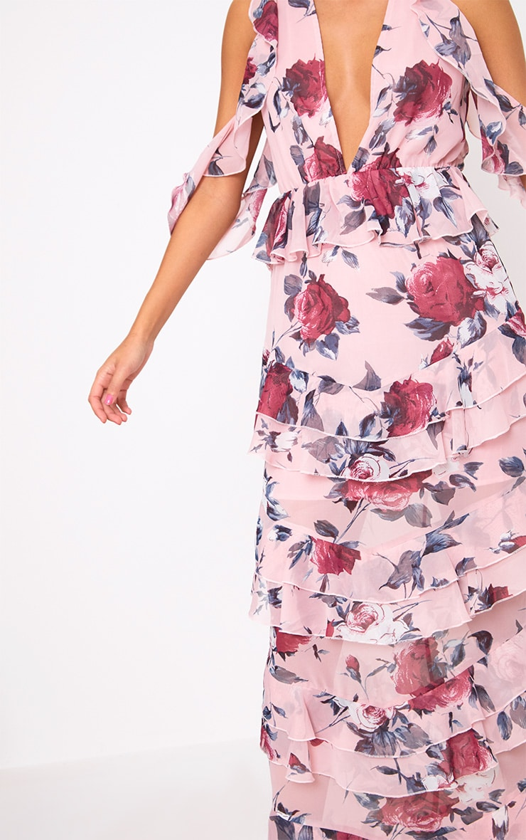 Pink Floral Cold Shoulder Frill Maxi Dress 5