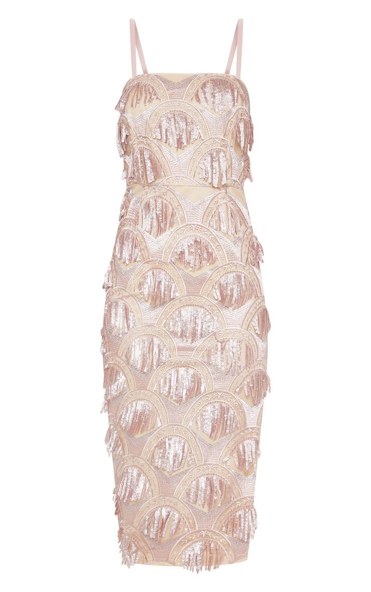 Dusty Pink Tassel Sequin Strappy Midi Dress 3