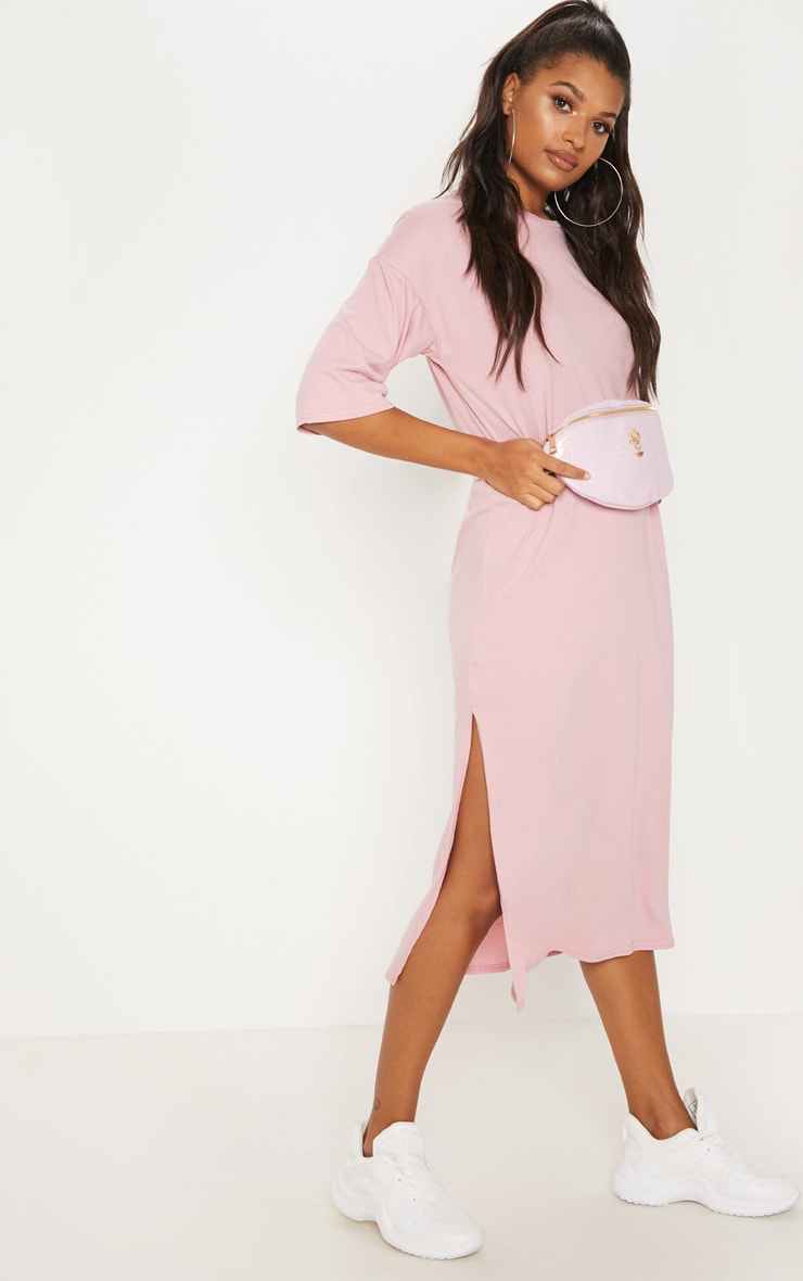 Dusty Pink Oversized Midi T Shirt Dress