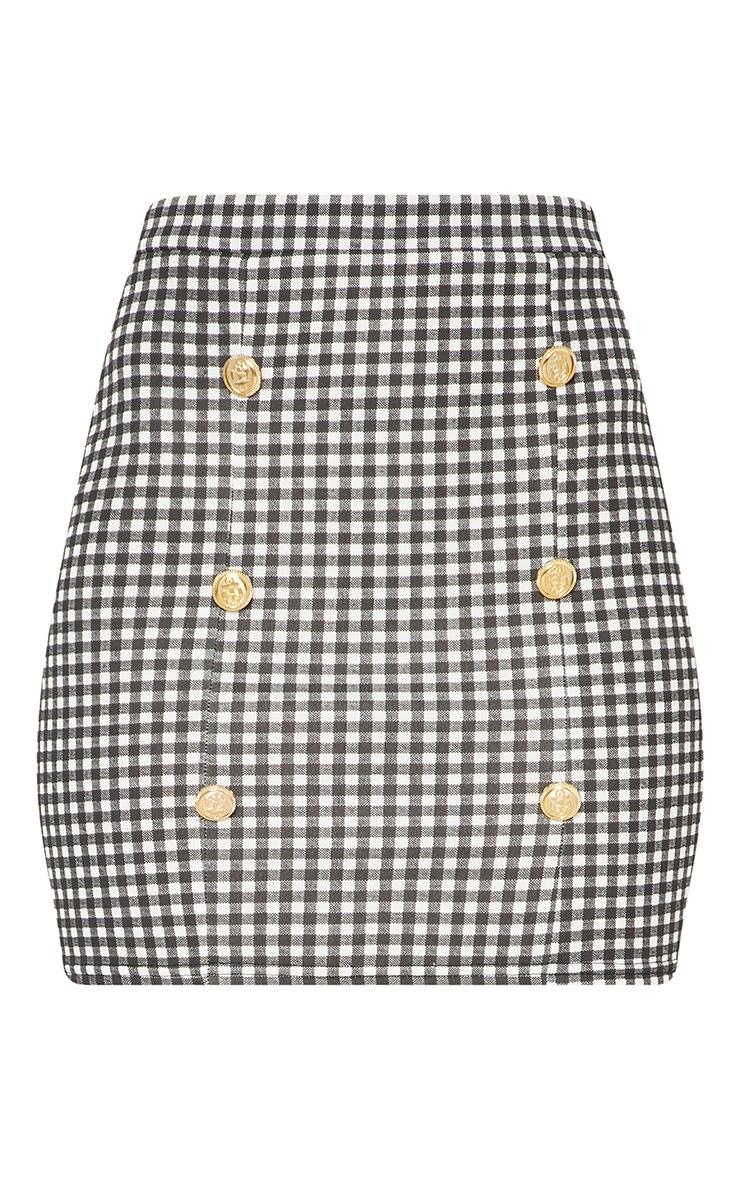Black Gingham Check Button Detail Mini Skirt 3