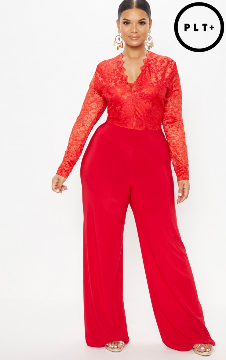 052fddc949bb6 Plus Red Lace Top Wide Leg Jumpsuit image 1