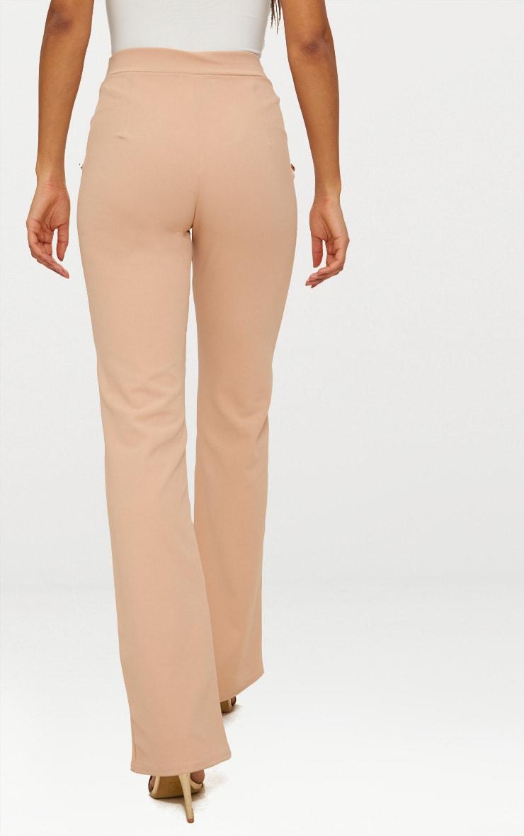 Nude Military High Waist Button Wide Leg Pants   3