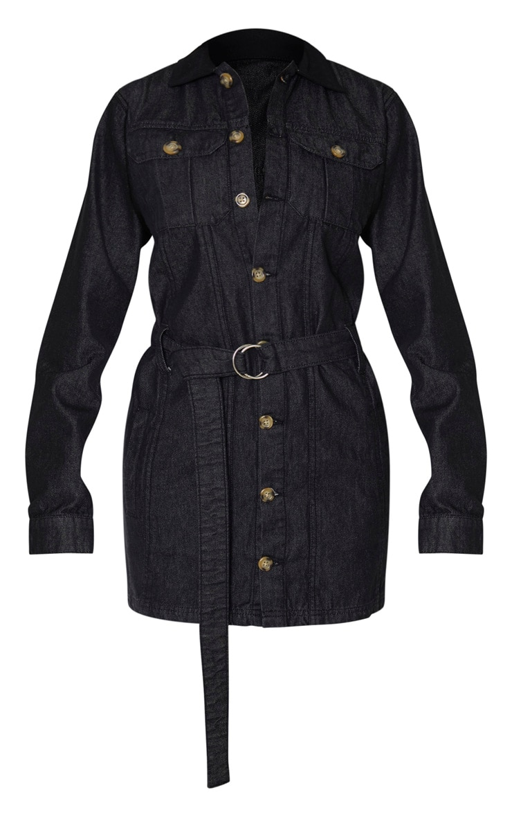 Tall Black Washed Belted Denim Shirt Dress 3