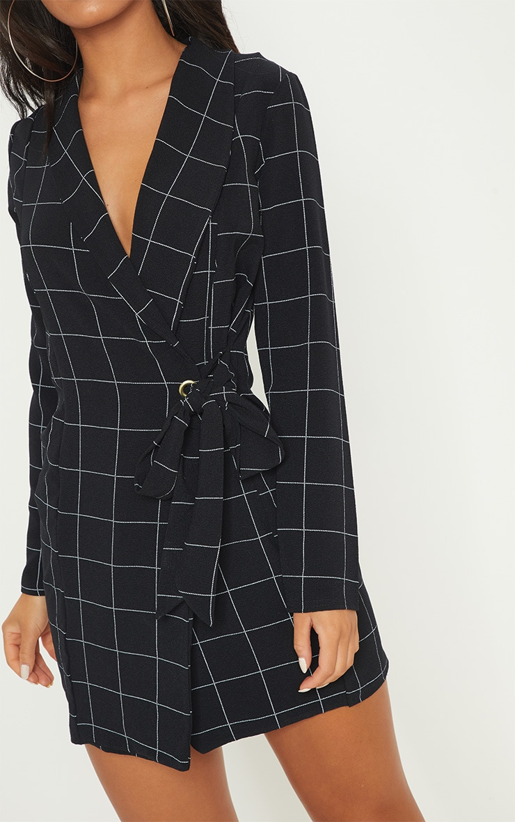 Black Checked Long Sleeve Blazer Dress 5