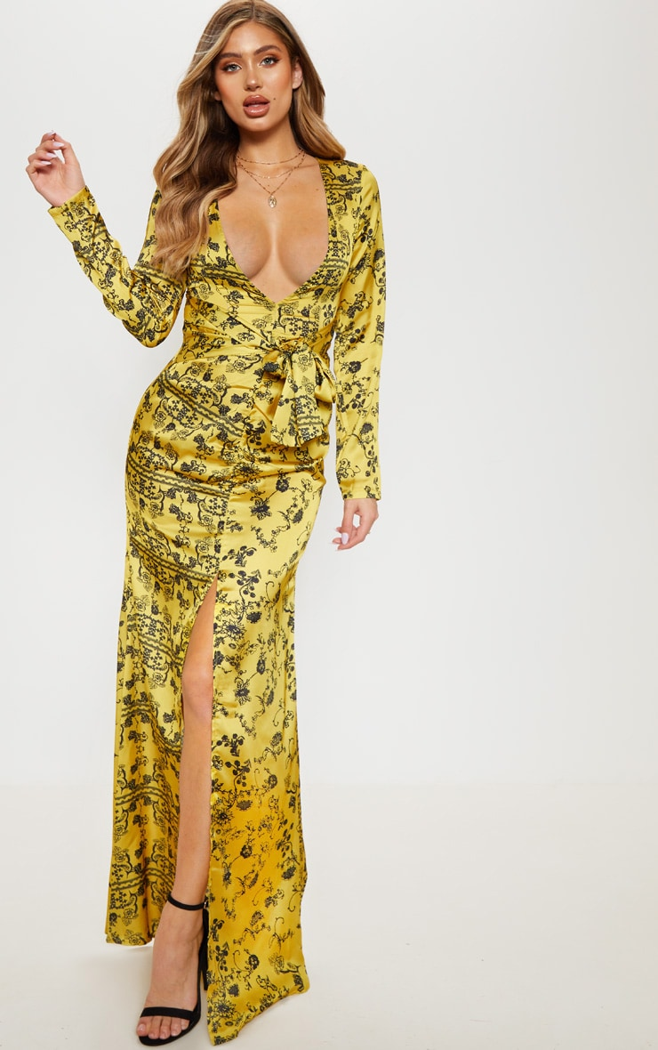 6cf296fb0c89 Yellow Printed Long Sleeve Ruffle Side Split Maxi Dress image 1