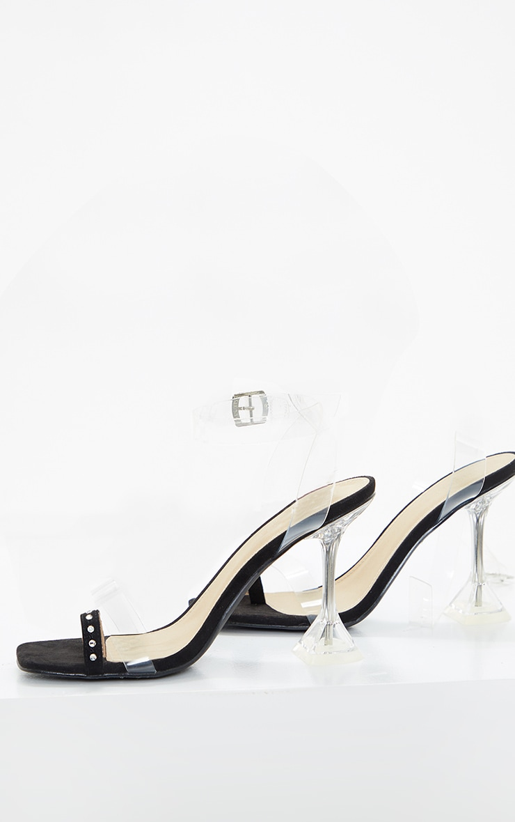 Black Diamante Toe Loop Cake Stand Heeled Sandal 3