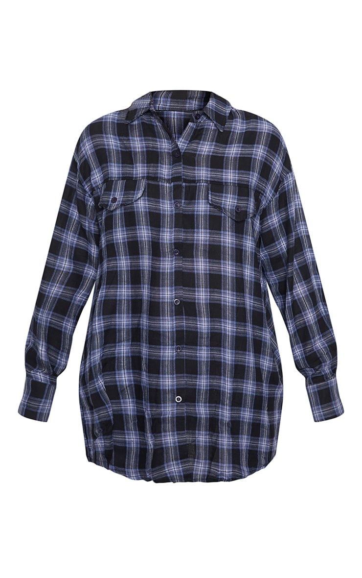 Midnight Blue Checked Oversized Pocket Detail Shirt 3
