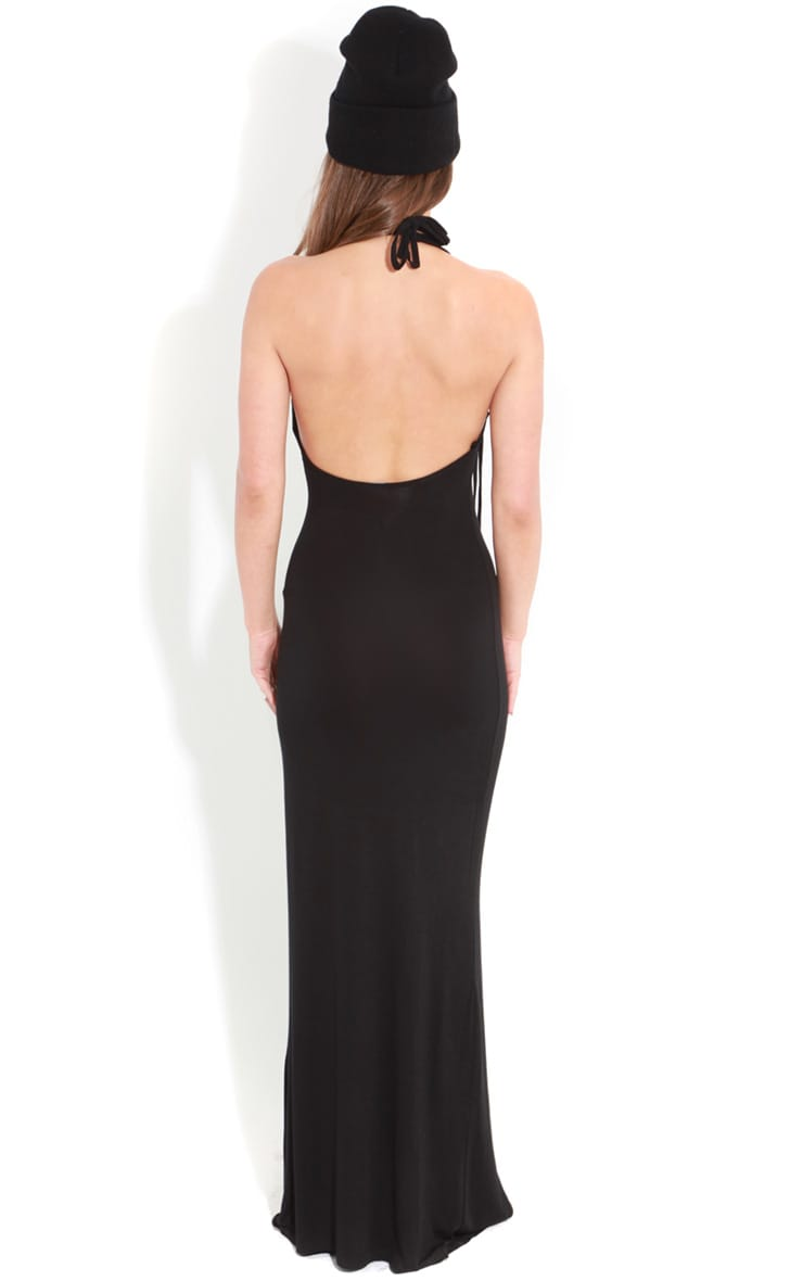 Raya Black Split Strappy Maxi Dress 2