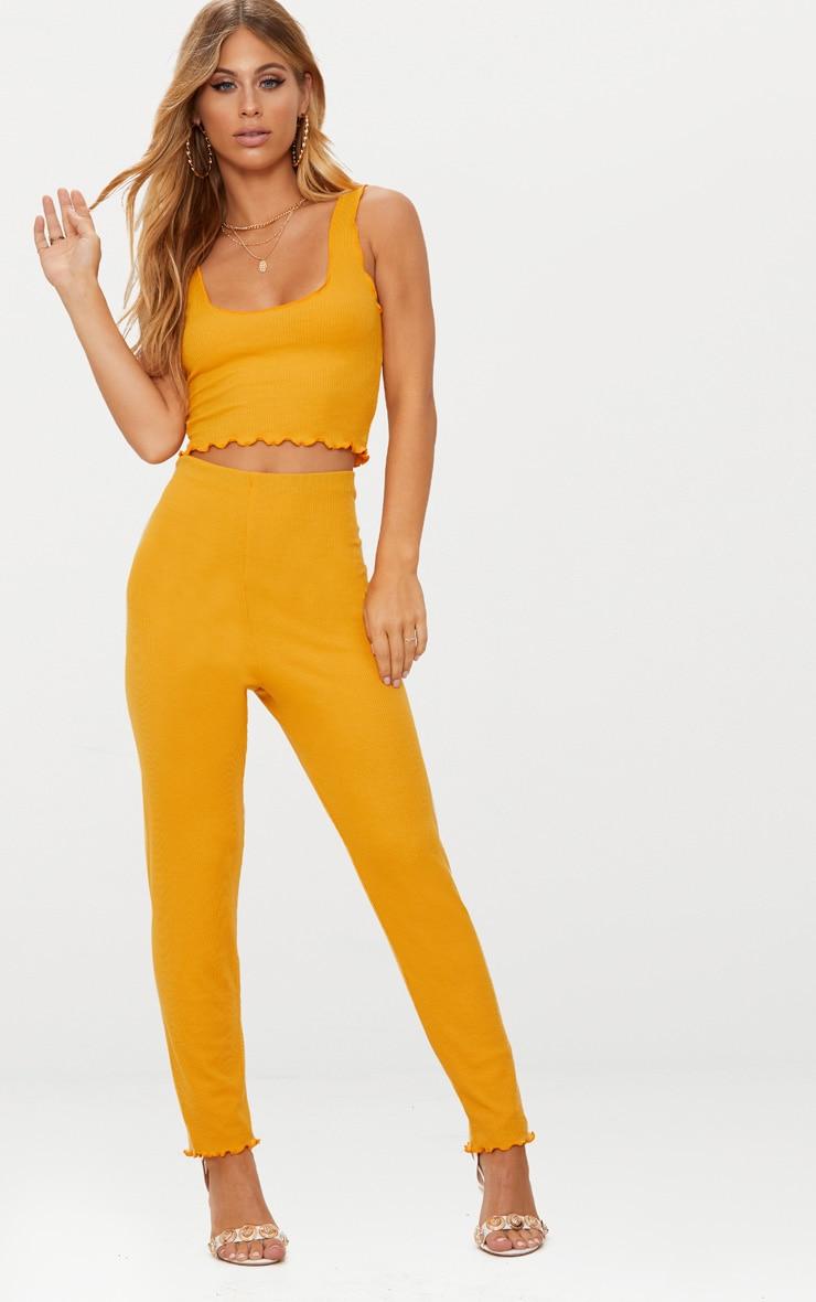 Mustard Rib Frill Hem Trousers 1