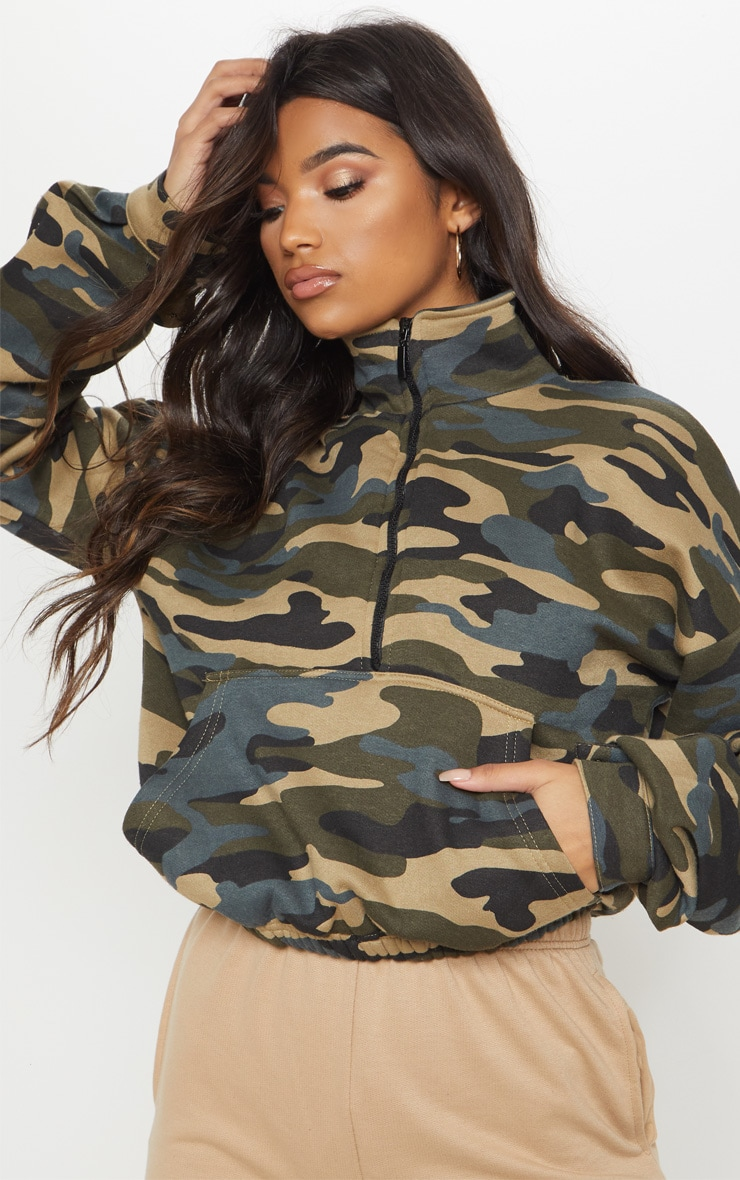Green Camo Oversized Zip Front Sweater  1
