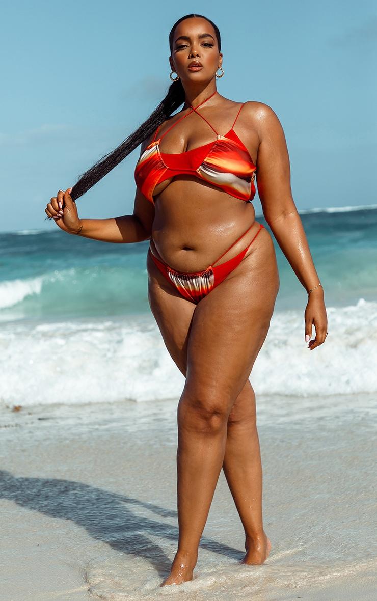 Plus Orange Ombre Double Layer Mesh Bikini Top 3