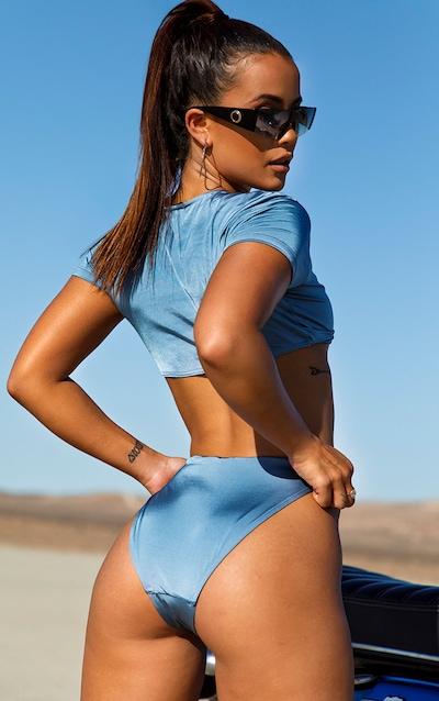 Slate Grey Knot Front T shirt Bikini Top