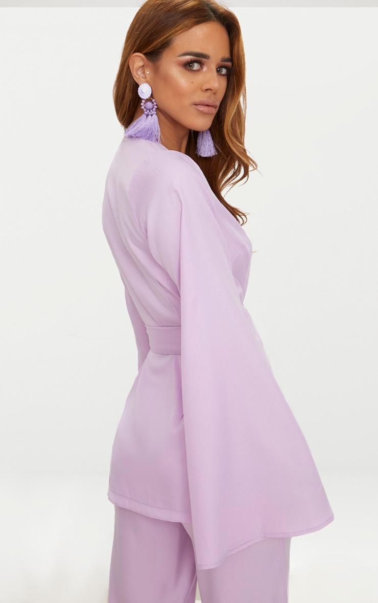 Petite Lilac Woven Belt Detail Blazer 4