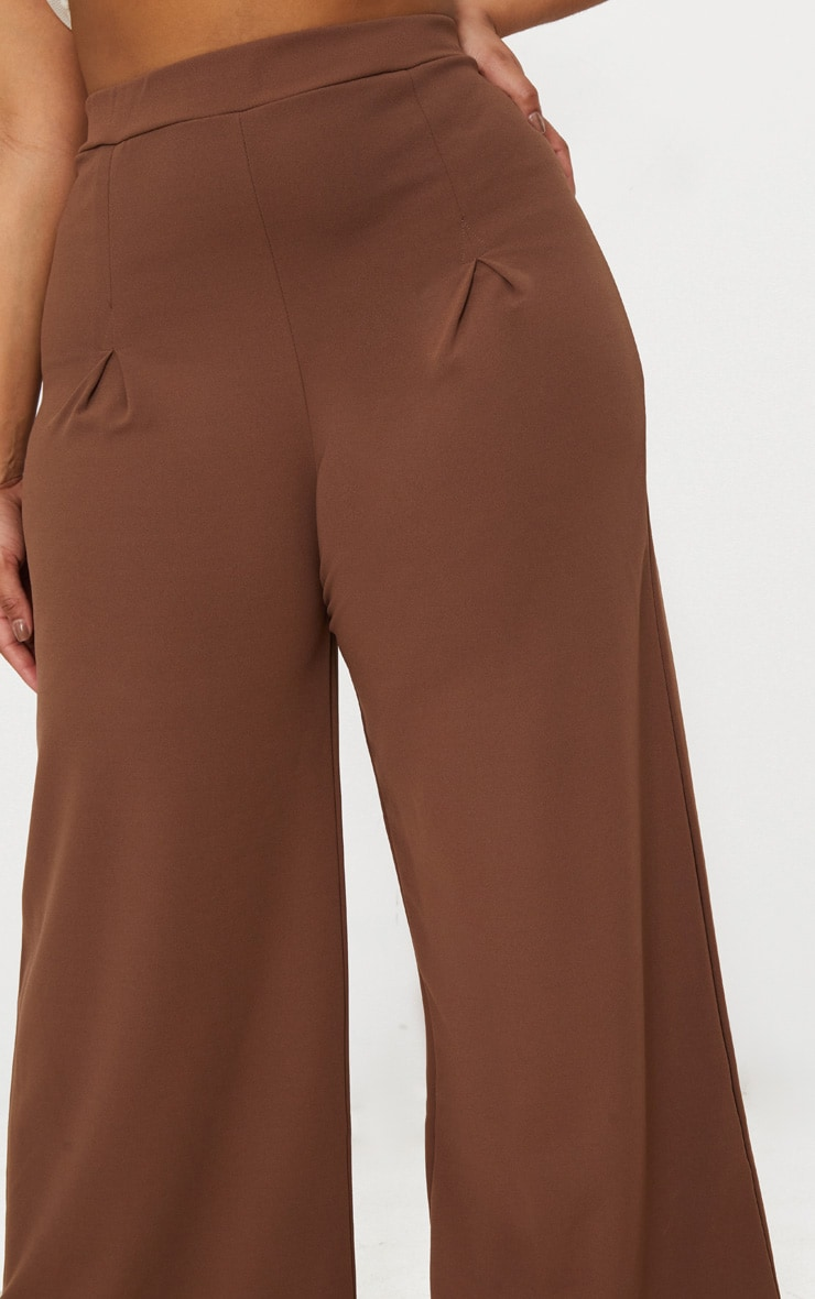 Taupe Plus Pleat Front Wide Leg Trousers  5