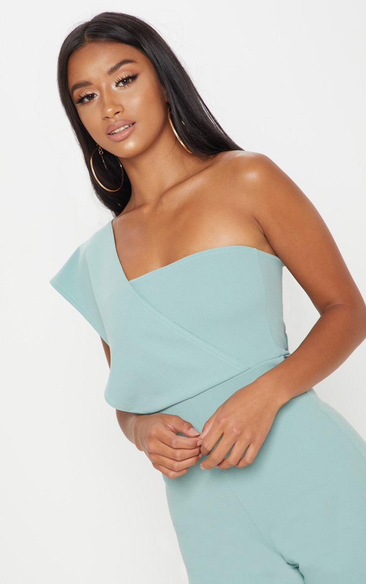 Petite Mint Drape One Shoulder Jumpsuit 5