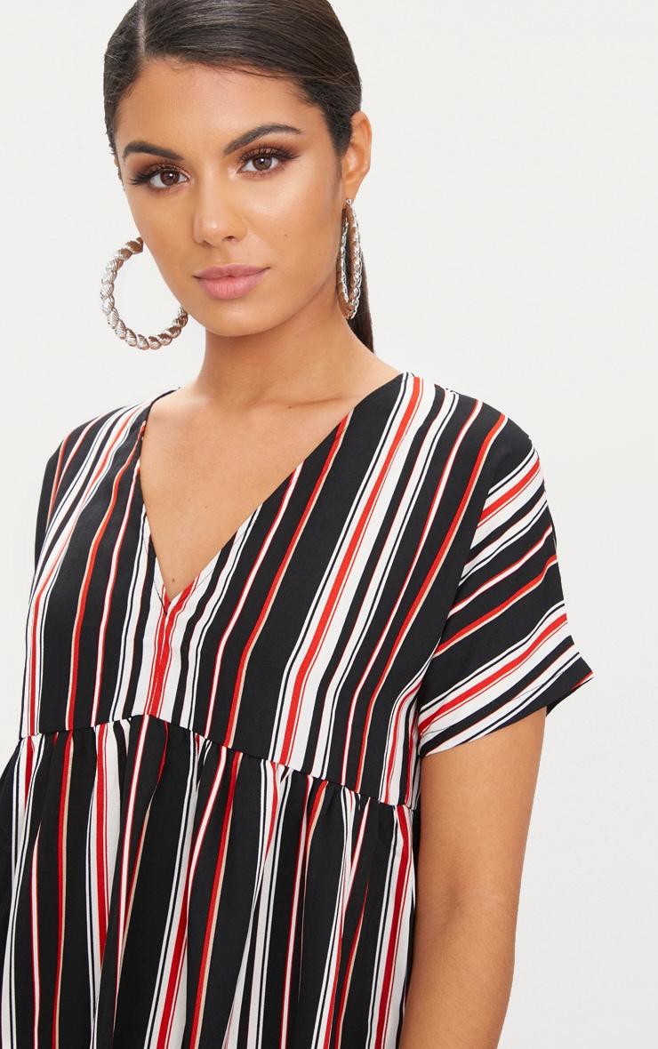 Black Stripe Smock Dress 5