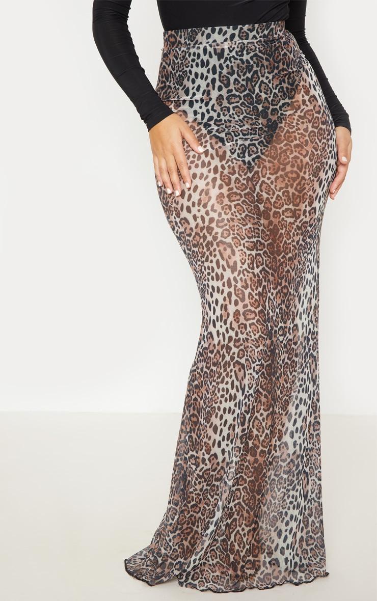 Leopard Print Mesh Maxi Skirt 3
