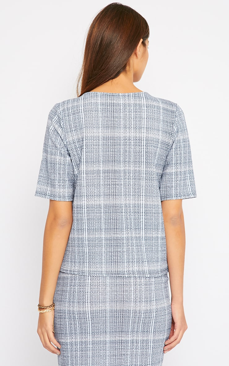 Cleo Blue Checked Top  3
