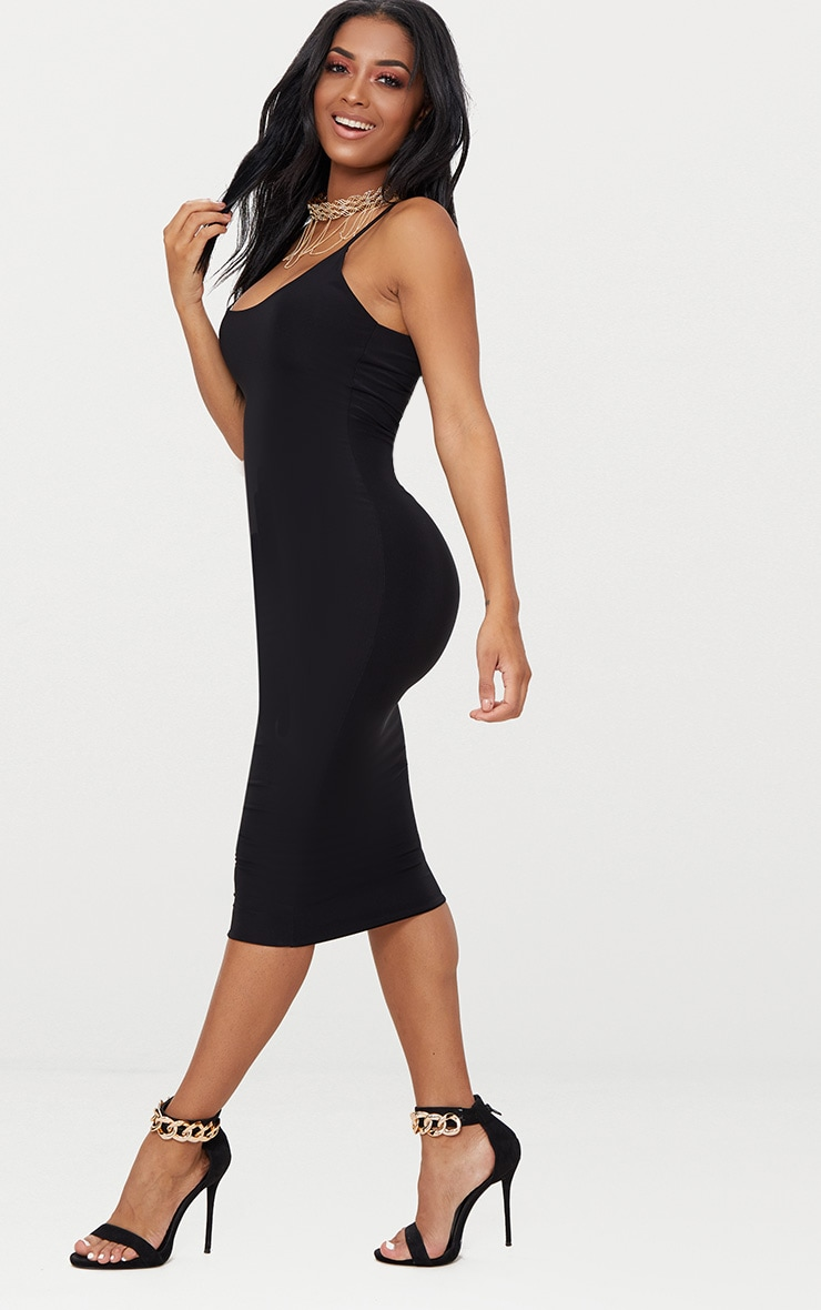 Shape Black Slinky Strappy Scoop Neck Midi Dress 4