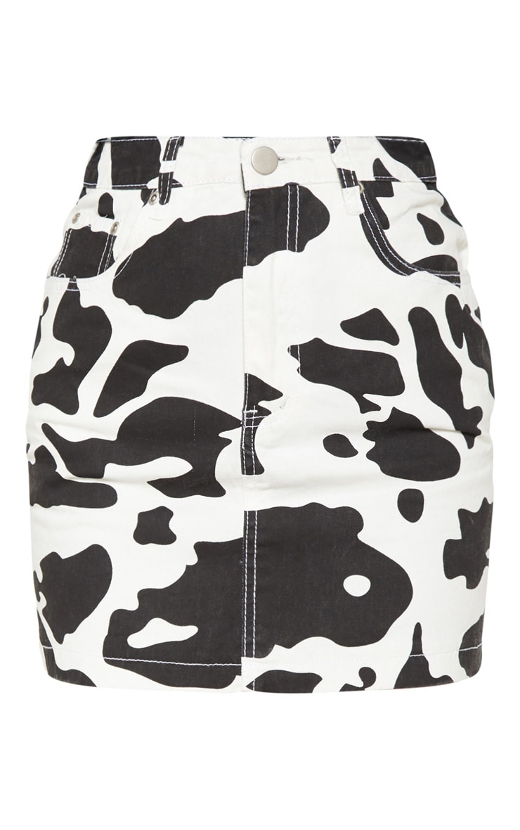 Cow Print Denim Mini Skirt 3