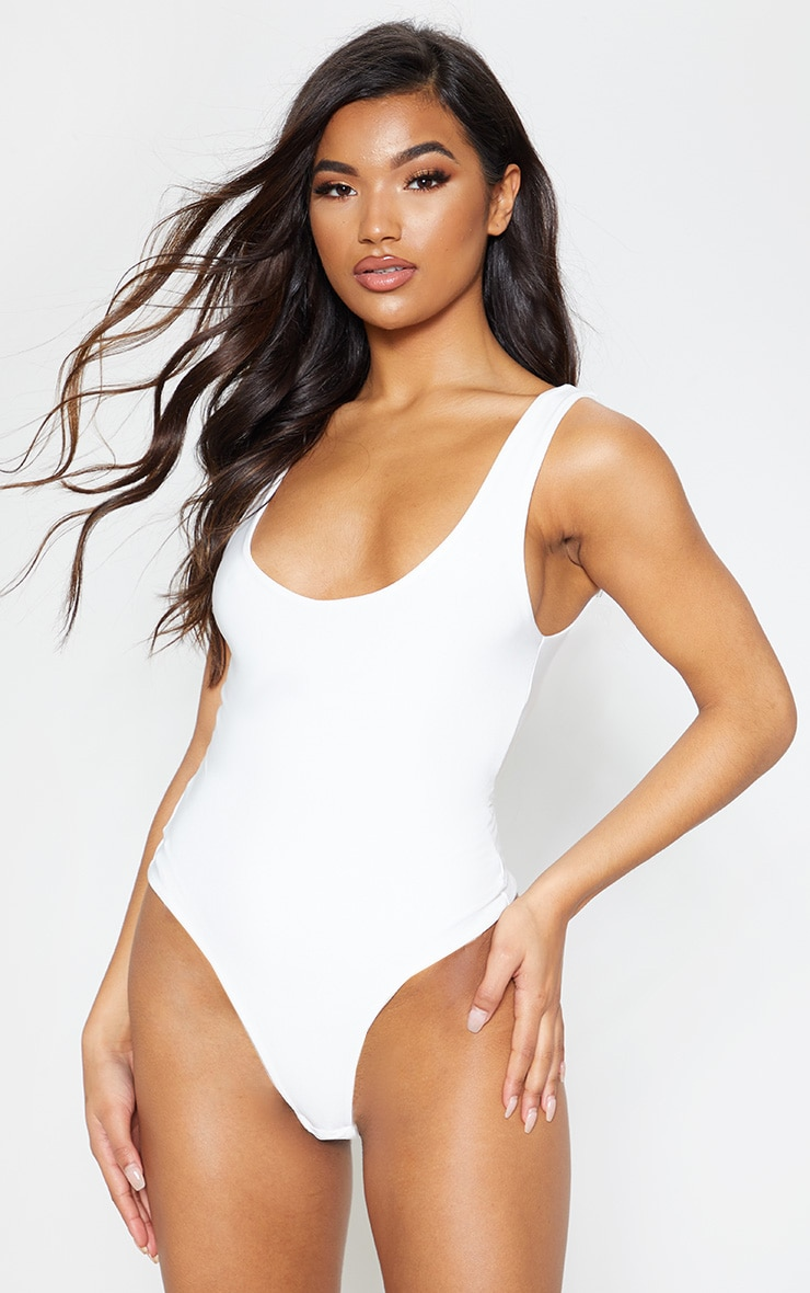 Cream Second Skin Scoop Neck Thong Bodysuit 3
