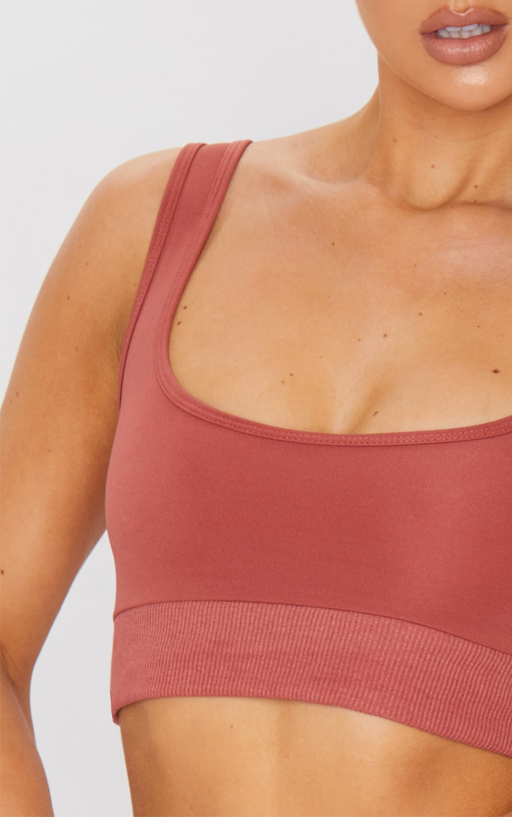 Dark Rose Rib Hem Sports Bra 4