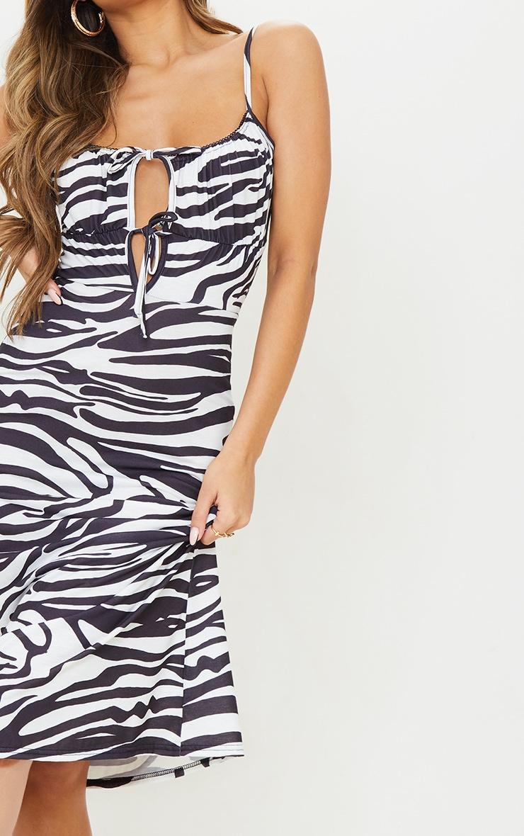 Black Zebra Print Tie Bust Strappy Midi Dress 4
