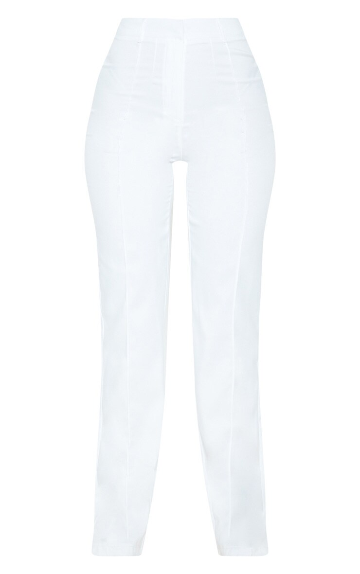 Anala Cream High Waisted Straight Leg Trousers 3