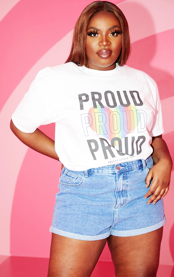 plus white proud slogan t shirt