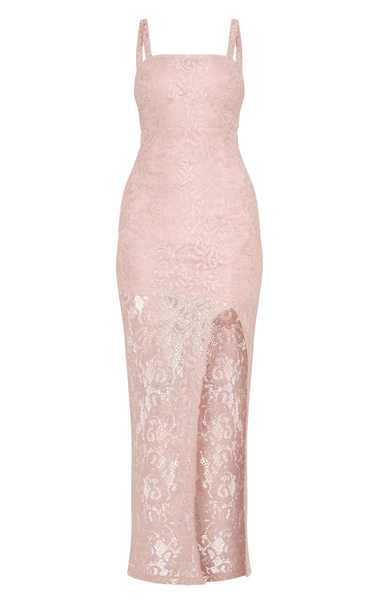 Dusty Pink Lace Square Neck Extreme Split Maxi Dress 3