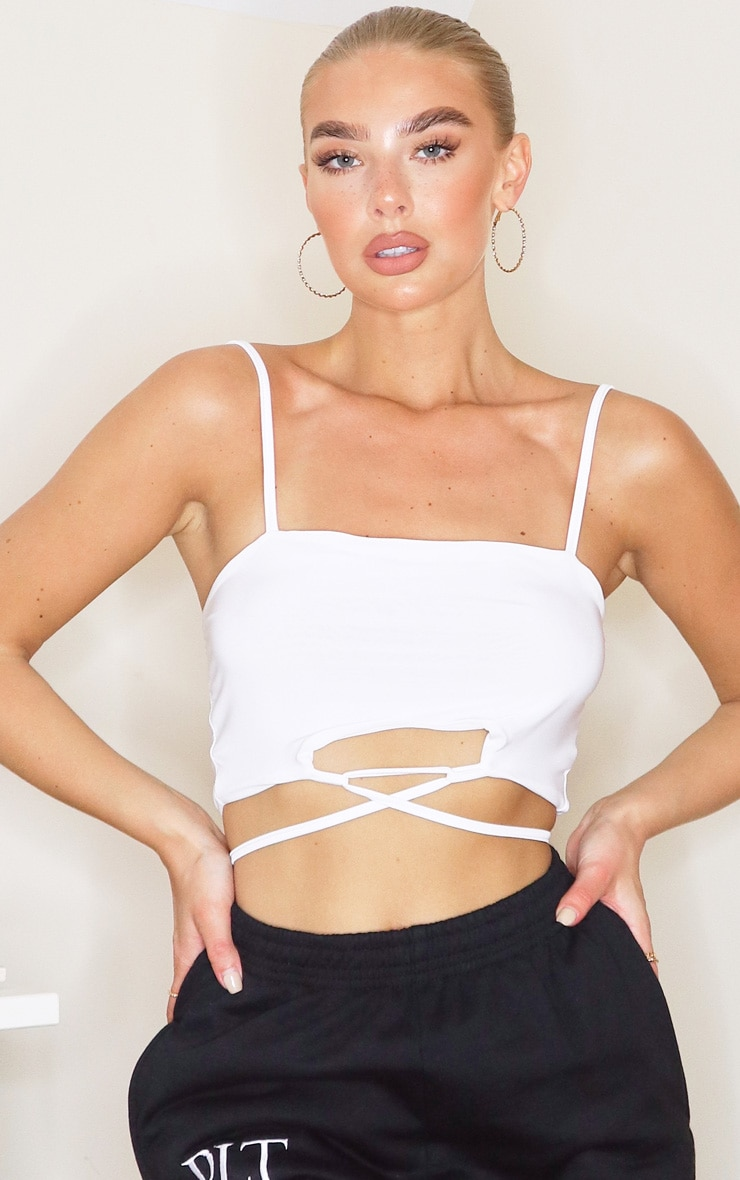 White Slinky Tie Back Strappy Crop Top 1