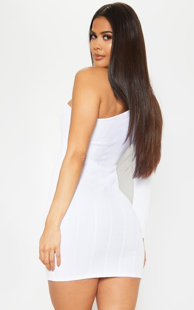 White One Shoulder Bandage Rib Bodycon Dress